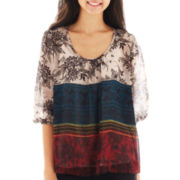 Heart & Soul® 3/4-Sleeve Colorblock Print Peasant Top