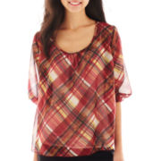 Heart & Soul® 3/4-Sleeve Plaid Peasant Top