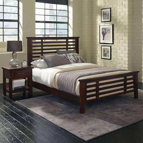 Mountain Lodge Bed and Nightstand