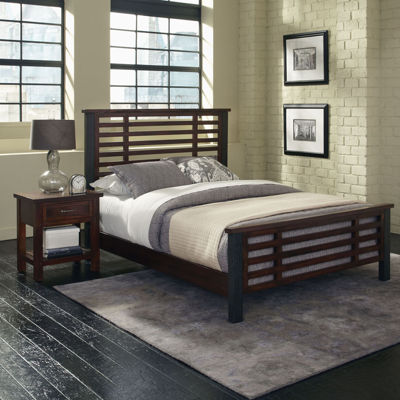 Mountain Lodge Metal Post Bed and Nightstand