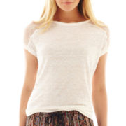 MNG by Mango® Lace-Shoulder Linen Tee