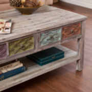 Leslie Weathered 2-Drawer Rectangular Coffee Table
