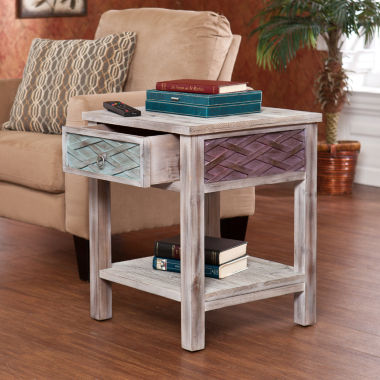 "jcpenney.com | Leslie Weathered Single-Drawer 24"" Square End Table"
