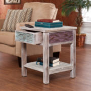 "Leslie Weathered Single-Drawer 24"" Square End Table"