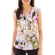 Worthington® Cap-Sleeve Pleated Button-Front Top - Petite