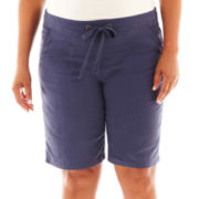 Linen-Blend Bermuda Shorts - Plus