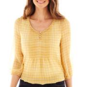 St. John's Bay® 3/4-Sleeve Chiffon Peasant Top