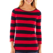 jcp™ 3/4-Sleeve Zip-Shoulder Boatneck Tee