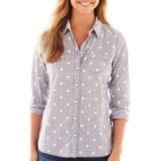 jcp™ Long-Sleeve Relaxed-Fit Essential Shirt