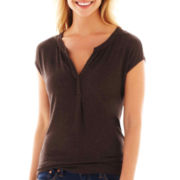 jcp™ Short-Sleeve Split-Neck Henley
