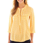 jcp™ 3/4-Sleeve Print Peasant Top