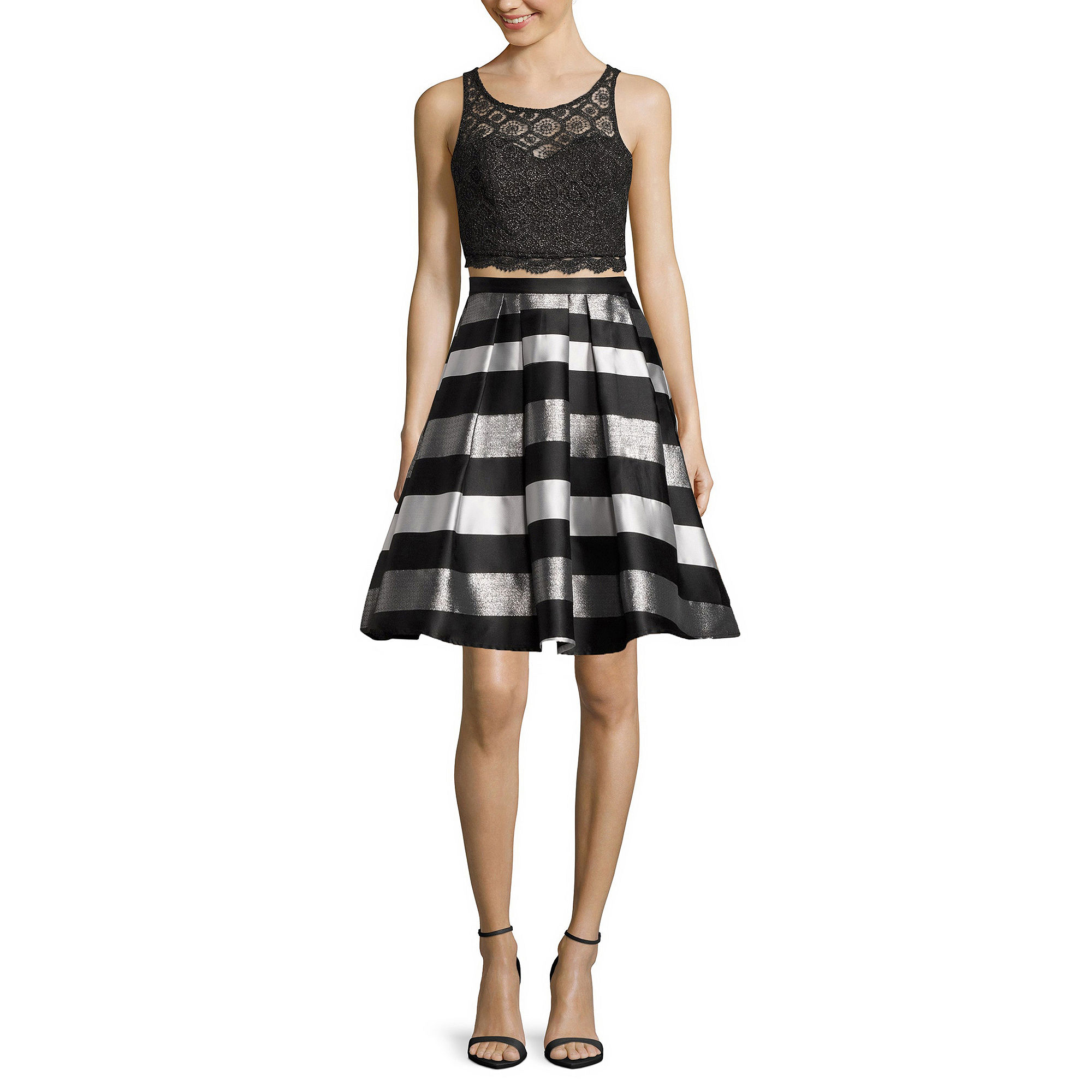 My Michelle 2-pc. Sleeveless Lace Top & Striped Skirt Set - Juniors plus size,  plus size fashion plus size appare