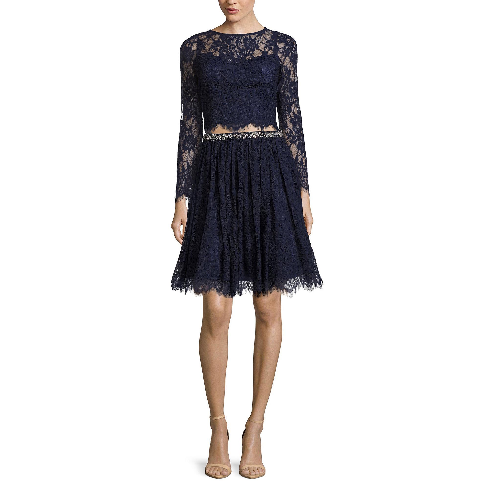Love Reigns 2-pc. Long-Sleeve Lace Top and Skirt Set - Juniors plus size,  plus size fashion plus size appare