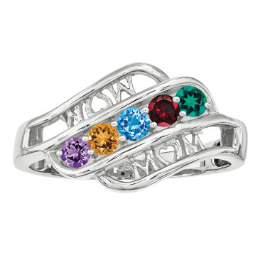 jcpenney.com | Personalized 14K Gold Cubic Zirconia Birthstone Family Ring