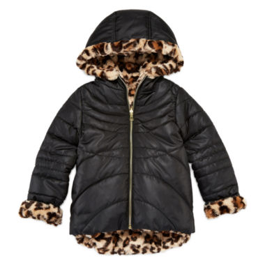 jcpenney.com | Pistachio Reversible Long-Sleeve Faux-Fur Jacket - Toddler Girls 2t-4t