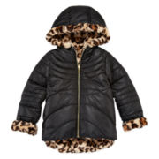 Pistachio Reversible Long-Sleeve Faux-Fur Jacket - Toddler Girls 2t-4t
