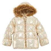 Pistachio Long-Sleeve Metallic Gold Puffer Jacket - Toddler Girls 2t-4t
