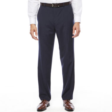 jcpenney.com | Stafford® Travel Stretch Navy Pinstripe Flat-Front Dress Pants - Classic Fit