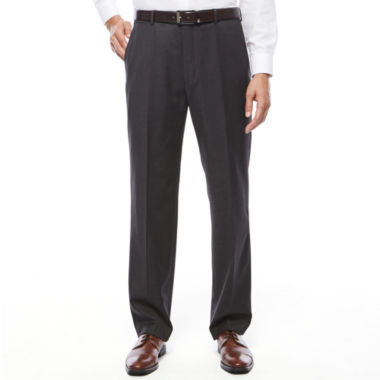 jcpenney.com | Stafford® Travel Stretch Charcoal Flat-Front Dress Pants - Classic Fit