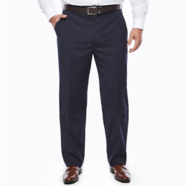 jcpenney.com | Stafford® Travel Stretch Navy Pinstripe Flat-Front Dress Pants - Big & Tall