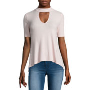 Almost Famous Elbow-Sleeve Ribbed Mockneck Swing Tee