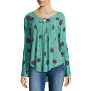 Ransom Girl™ Long-Sleeve Printed Lace-Up Peasant Top