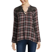 Self Esteem® Long-Sleeve Plaid Lace-Yoke Flyaway Shirt