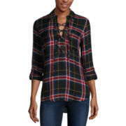 Self Esteem® Long-Sleeve Plaid Lace-Up Shirt