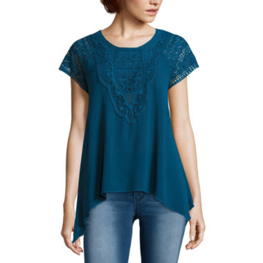 jcpenney.com | Trixxi® Short-Sleeve Sharkbite Lace Woven Tee - Juniors