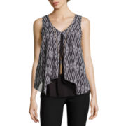 by&by Sleeveless Print Knit-to-Woven Top with Necklace