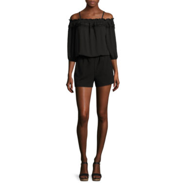 jcpenney.com | by&by Long-Sleeve Off-the-Shoulder Romper - Juniors