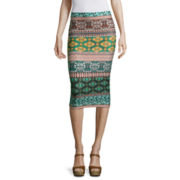 by&by Printed Scuba Pencil Skirt