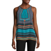 by&by Sleeveless Printed Top with Necklace