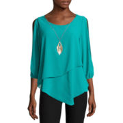 by&by Split-Elbow-Sleeve Pointed-Hem Knit-to-Woven Top with Necklace