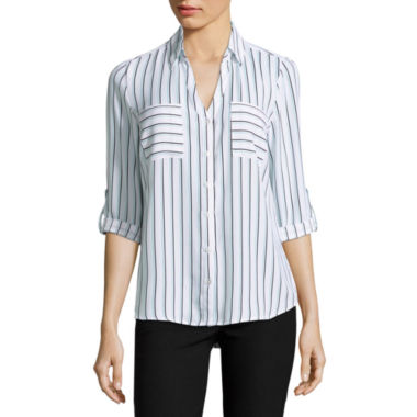 jcpenney.com | by&by 3/4-Sleeve Striped Button-Up Woven Shirt