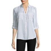 by&by 3/4-Sleeve Striped Button-Up Woven Shirt