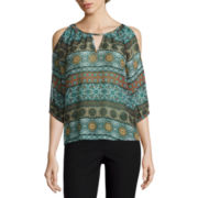 by&by Long-Sleeve Cold-Shoulder Keyhole Peasant Top