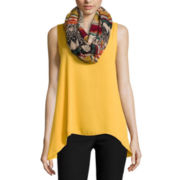 by&by Sleeveless Woven Tank with Scarf