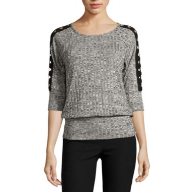 jcpenney.com | by&by 3/4-Sleeve Marled Rib-Knit Lace-Shoulder Top - Juniors