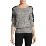 by&by 3/4-Sleeve Marled Rib-Knit Lace-Shoulder Top