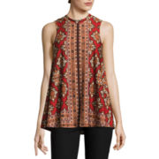 by&by Sleeveless Printed Knit Trapeze Top with Necklace