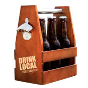 Personalized Drink Local Wooden Craft Beer Carrier with Opener