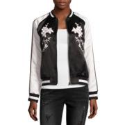 BELLE + SKY™ Satin Embroidered Bomber Jacket