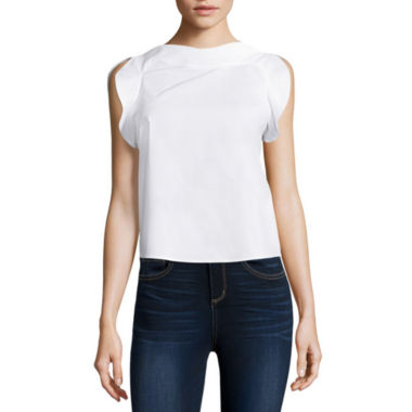 jcpenney.com | BELLE + SKY™ Sleeveless Ruffled Shirt
