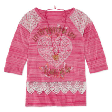 jcpenney.com | Knit Works® 3/4-Sleeve Screen-Printed Top with Necklace - Girls 7-16