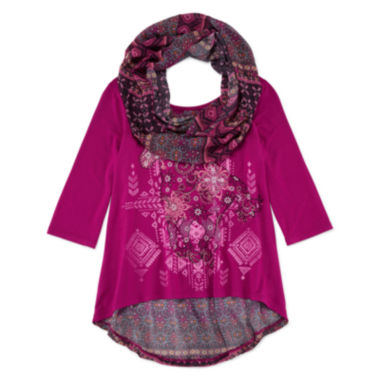 jcpenney.com | Knit Works® 3/4-Sleeve Hi-Lo Top with Printed Scarf - Girls 7-16 and Plus