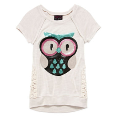 jcpenney.com | Miss Chevious Short-Sleeve Crochet-Side Graphic Tee - Girls 7-16