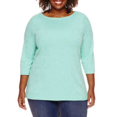 jcpenney.com | St. John's Bay® 3/4-Sleeve Top - Plus