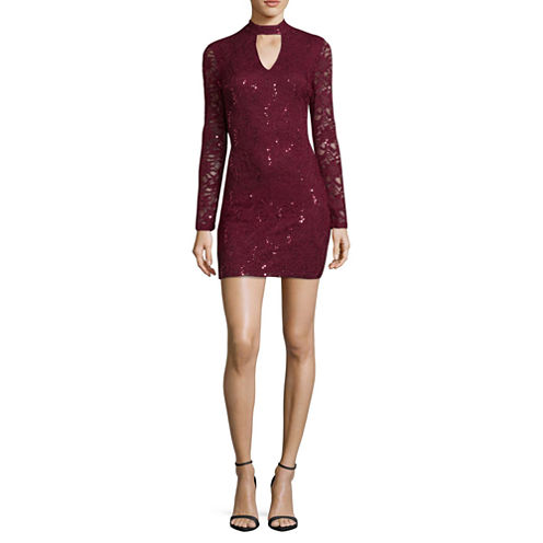 by&by Long Sleeve Bodycon Dress-Juniors