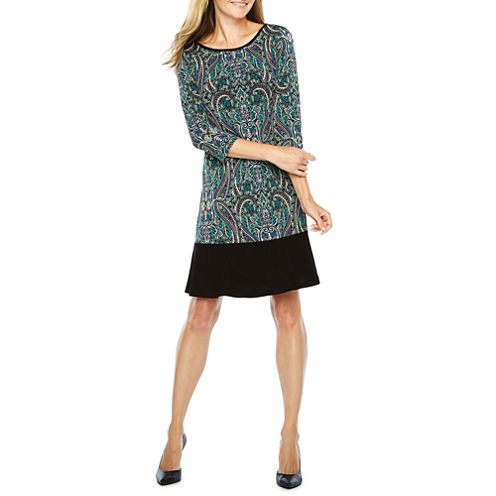 Ronni Nicole 3/4 Sleeve Paisley Shift Dress